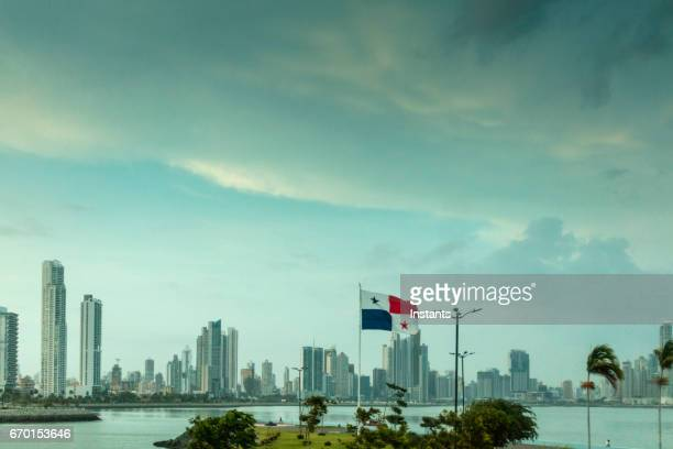 Panoramic view of the modern side of Panama City with its high rise buildings, right by the Pacific Ocean.