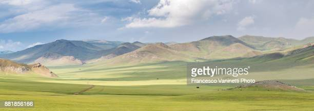 Panoramic view of the Mongolian steppe. Ovorkhangai province, Mongolia.