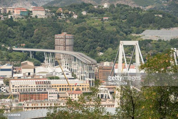 Panoramic view of the Morandi Bridge collapsed on August 14 in Genoa causing the death of 43 people