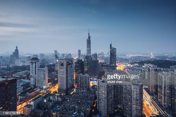 a panoramic view of the nanjing city skyline - paesaggio urbano foto e immagini stock