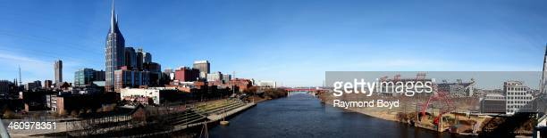 Panoramic view of the Nashville Skyline and LP Field, home of the Tennessee Titans football team, as photographed from the Shelby Street Pedestrian...