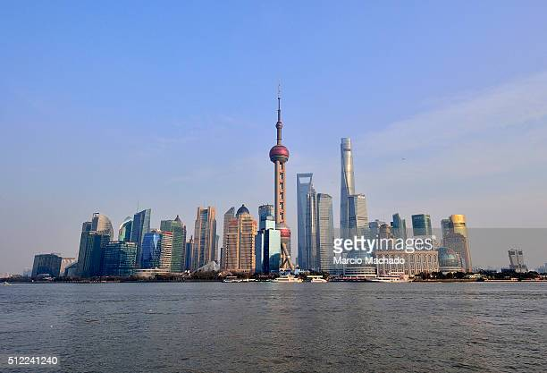 A panoramic view of the New Pudong Area the Financial Center of Shanghai with the Oriental Pearl TV Tower on February 25 2016 in Shanghai China