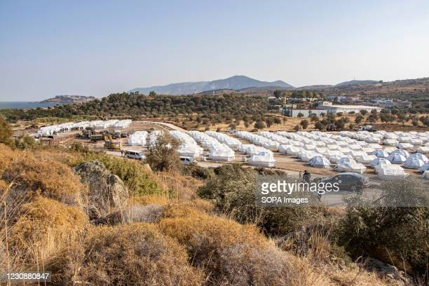 Panoramic view of the new temporary Refugee Camp with tents. The Karatepe, Kara Tepe or Mavrovouni refugee camp was built after the fire in Moria...
