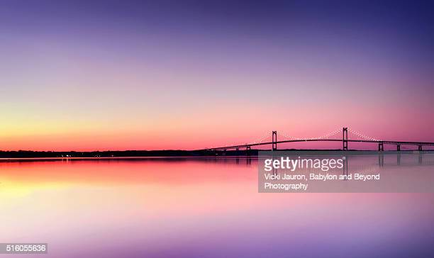 panoramic view of the newport pell bridge at sunset - newport rhode island stock pictures, royalty-free photos & images