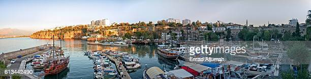 Panoramic view of the old harbor in the old town (Kaleici) of Antalya, Turkey