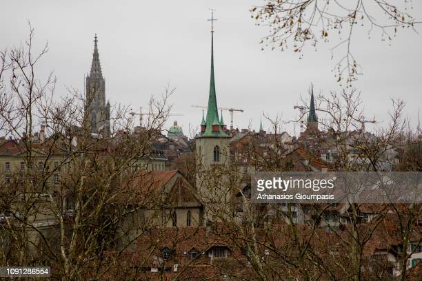 Panoramic view of The old town and the medieval city center of Bern on January 01 2019 in Bern Switzerland The old town is the medieval city center...