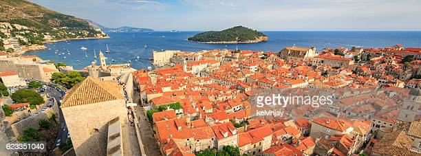 Panoramic view of the old town in Dubrovnik, Croatia