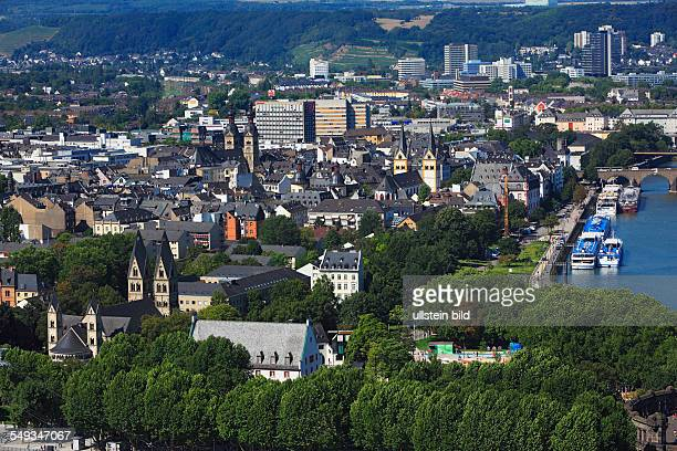 Panoramic view of the old town of Koblenz from left to right Kastor Church basilica minor Liebfrauen Church parish church Florin Church catholic...