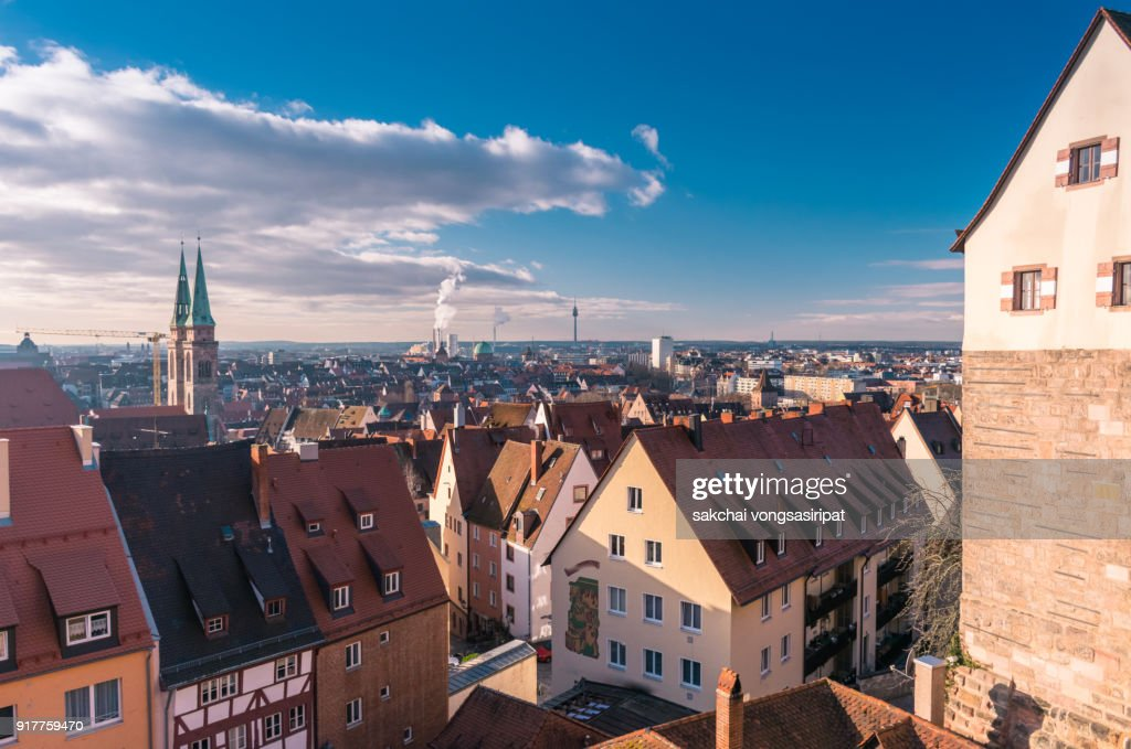 Panoramic View of The Old Town of Nuremberg City in Germany Bavaria : ストックフォト