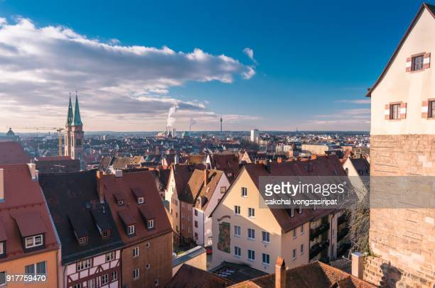 panoramic view of the old town of nuremberg city in germany bavaria - tyskland bildbanksfoton och bilder