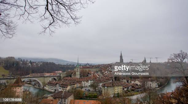 Panoramic view of The old town the medieval city center of Bern and the Aare River on January 01 2019 in Bern Switzerland The old town is the...