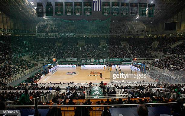 Panoramic view of the Olympic Sports Center during the 2016/2017 Turkish Airlines EuroLeague Regular Season Round 19 game between Panathinaikos...