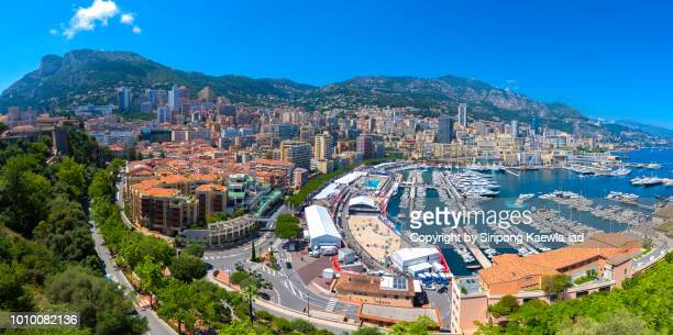 panoramic view of the quartier du port and port hercule in monaco. - copyright by siripong kaewla iad ストックフォトと画像