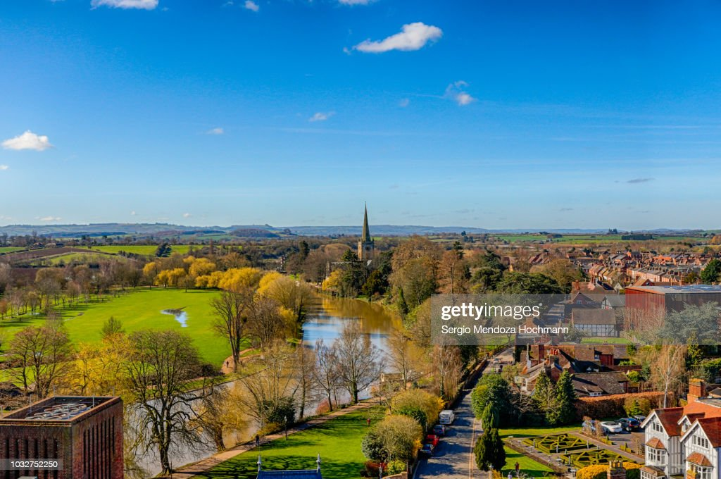 Panoramic view of the River Avon and Stratford-upon-Avon, England on a clear day : Stock Photo