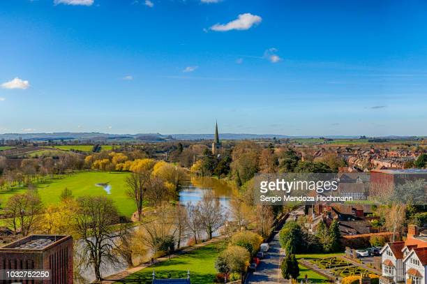 Panoramic view of the River Avon and Stratford-upon-Avon, England on a clear day