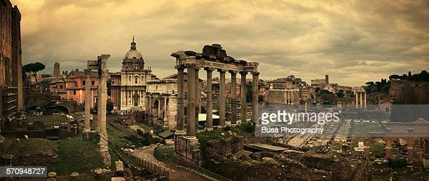 panoramic view of the roman forum - ancient rome stock photos and pictures