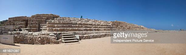 Panoramic view of the Roman hippodrome stadium for horse racing and chariot racing at the national park of Caesarea Maritima Israel