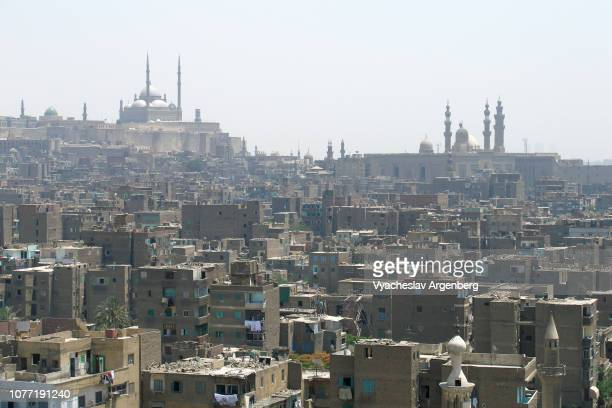 panoramic view of the saladin citadel of cairo and islamic old cairo, egypt - east jerusalem stock pictures, royalty-free photos & images