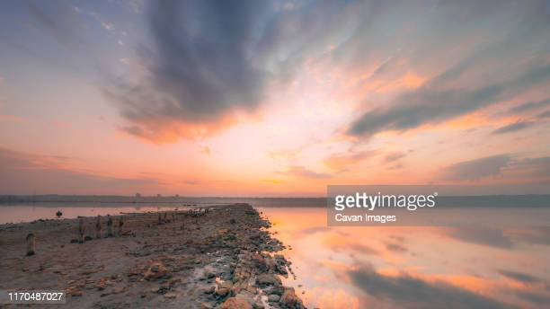panoramic view of the salt lake at sunset - odessa ukraine stock pictures, royalty-free photos & images