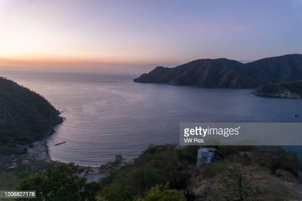 Panoramic view of the sea in Taganga, Santa Marta.