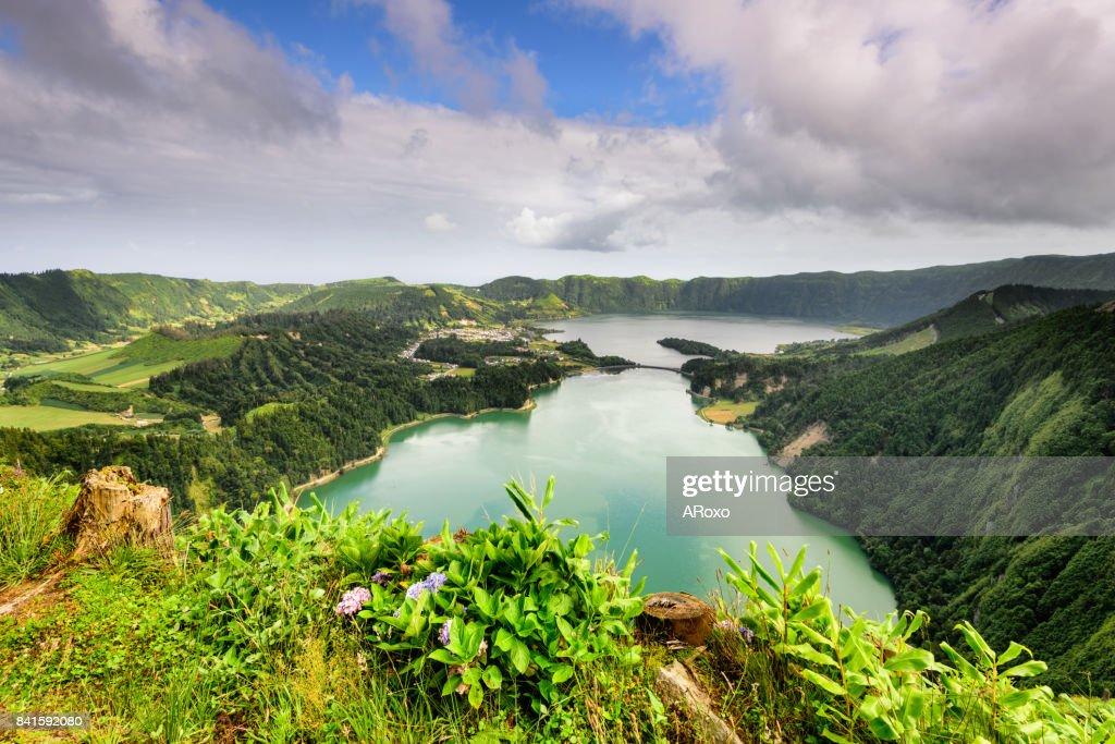 Panoramic view of the Sete Cidades Lagoon no Açores. : Stock Photo