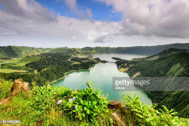 Panoramic view of the Sete Cidades Lagoon no Açores.