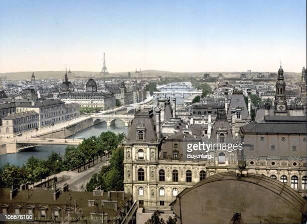 Panoramic view of the seven bridges from Ile de la Cite Paris France 1895