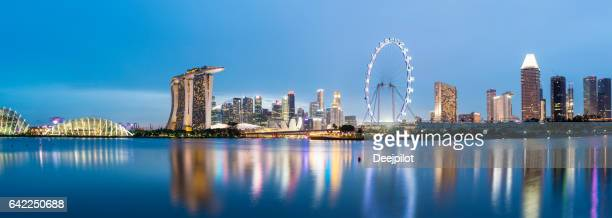 Panoramic view of the Singapore Downtown City Skyline at twilight from the East Park across the bay