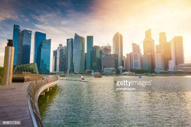 Panoramic  view of the Singapore Skyline and Marina Bay