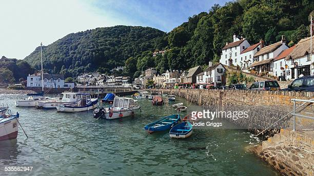 panoramic view of the small village lynmouth - village stock pictures, royalty-free photos & images