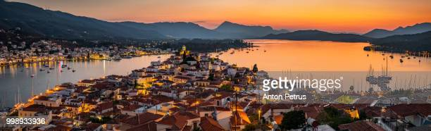 Panoramic view of the sunset on Poros island in Aegean sea, Greece