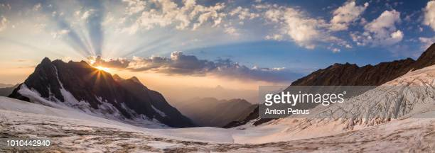 Panoramic view of the sunset on the glacier of Mount Laila, Caucasus, Georgia