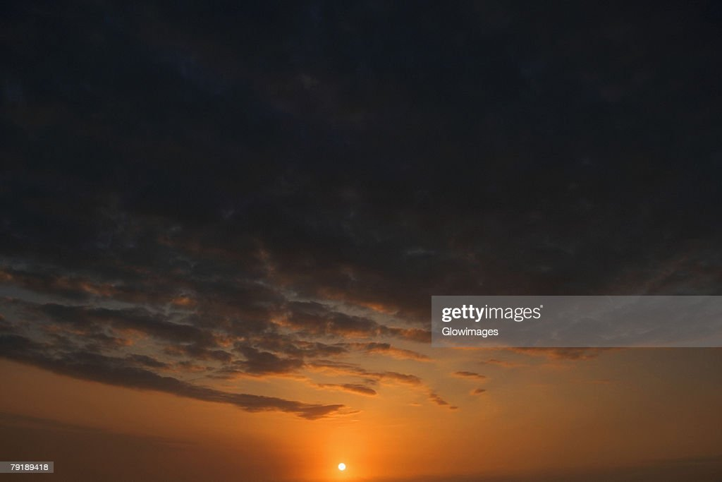 Panoramic view of the sunset, Pakini Nui Wind Project, South Point, Big Island, Hawaii Islands, USA : Stock Photo
