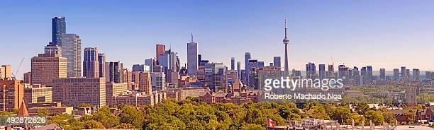 Panoramic view of the Toronto skyline The image shows a distant view of the tall buildings of the city including the CN tower Toronto the provincial...