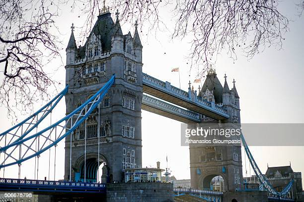 Panoramic view of the Tower Bridge on December 31 2015 in London England Tower Bridge built 1886–1894 is a combined bascule and suspension bridge The...