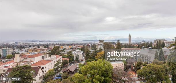 A panoramic view of the University of California at Berkeley campus including Sather Tower also known as The Campanile the city of Berkeley and in...