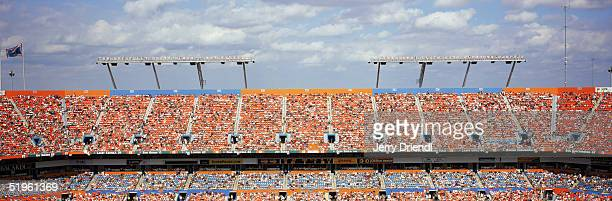 Panoramic view of the upper level fans at DHL Pro Player Stadium during a game between the Buffalo Bills and the Miami Dolphins on December 5 2004 in...