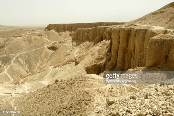 panoramic view of the valley of the kings, thebes, luxor - argenberg stock pictures, royalty-free photos & images