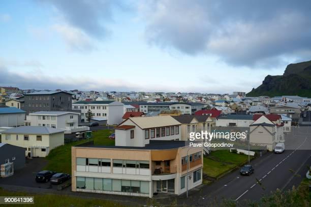Panoramic view of the Vestmannaeyjar (Heimaey town), Heimaey Island, Iceland