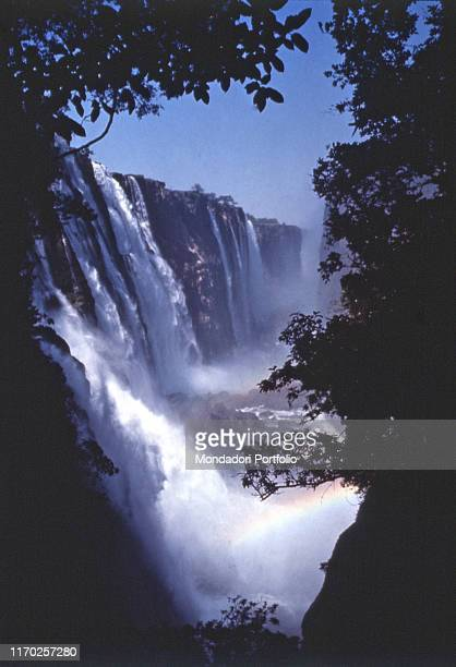 Panoramic view of the Victoria Falls in the middle of the Zambezi river Zambia 1964