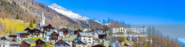 Panoramic view of the village of Bosco Gurin, Vallemaggia, Canton of Ticino, Switzerland, Europe.