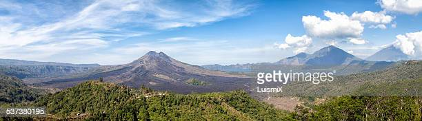 panoramic view of the volcano and lake batur - kintamani district stock pictures, royalty-free photos & images