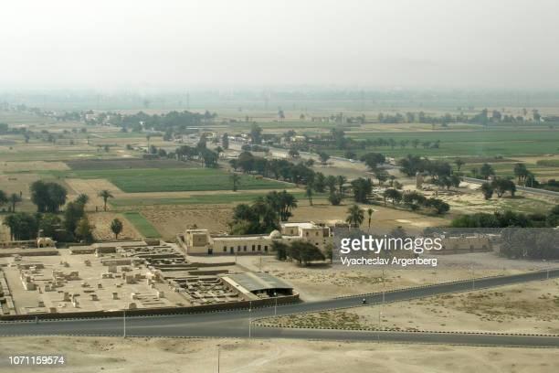 panoramic view of theban plains, luxor, thebes, egypt - argenberg bildbanksfoton och bilder