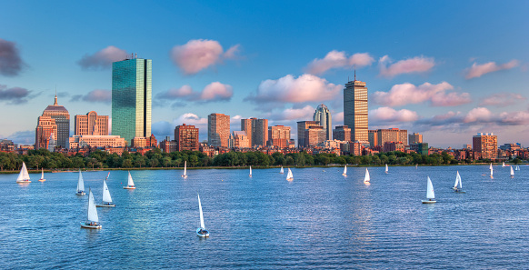 Panoramic View of theBoston Skyline Across the Charles River Bas 471698707