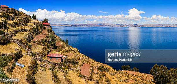 Panoramic view of Titicaca lake from Isla Taquile