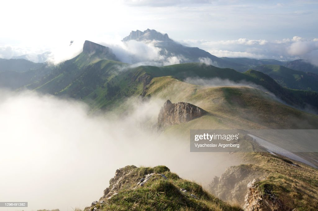 Panoramic view of Tkhach mountains in clouds, mountain landscape, Caucasus : Stock Photo
