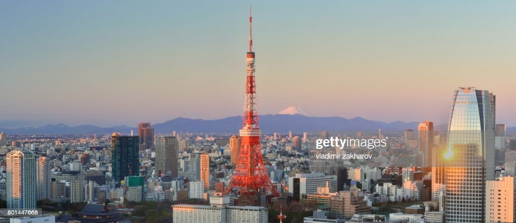 panoramic view of tokyo at sunrise ストックフォト getty images