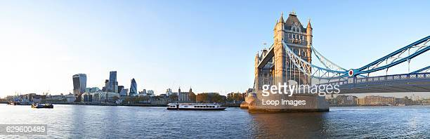 Panoramic view of Tower bridge from Canary Wharf toThe City from south bank of the river Thames Tower Bridge England
