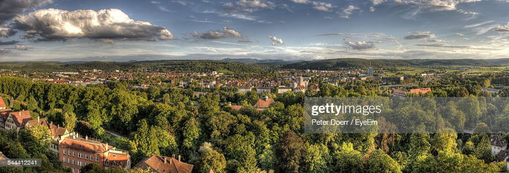 Panoramic View Of Trees And Houses Against Sky : Stock Photo