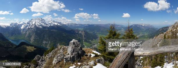 panoramic view of trees and landscape against sky - berchtesgaden stock pictures, royalty-free photos & images